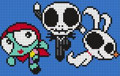 The Powerpuff Girls As Sally, Jack And Zero From The Nightmare Before Christmas . The Powerpuff Girls As Sally, Jack And Zero From The Nightmare Before Christmas (sq) Perler Bead Pa Pony Bead Patterns, Kandi Patterns, Pearler Bead Patterns, Perler Patterns, Beading Patterns, Cross Stitch Patterns, Powerpuff Girls, Nightmare Before Christmas, Christmas Perler Beads