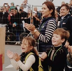 Crown princess Mary with prince Christian and princess Isabella cheering on crown prince Frederik