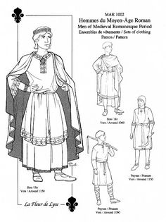 All one needs to make a set of of clothes for gentry or peasant men of the years 1060 or 1150. Including chainse (shirt), cotte (tunic), bliaut
