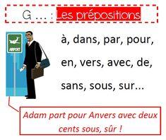 Grammaire en couleur : mémo sur les prépositions
