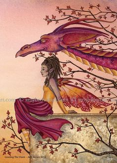 5x7 Greeting the Dawn dragon and fairy PRINT by Amy Brown