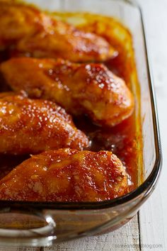 This Candied Chicken is sure to be a family favorite - chicken breasts are cooked in a sweet and tangy sauce that leaves the kids begging for more!