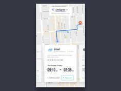 Interaction design to display the locations of nearby companies. While swiping the map, the location changes easily.  Want to see more good stuff? Follow me on Instagram