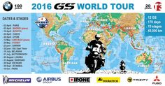 Map of the 2016 GS WORLD TOUR celebrating 20th anniversary of T3