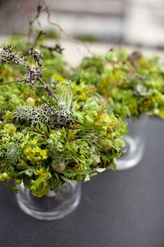 Love the bright green of these woodland-centerpieces