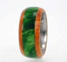 Green Box Elder Burl Wood Ring Titanium Wood.