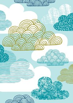 Blue Clouds, limited edition giclee print. $25,00, via Etsy.