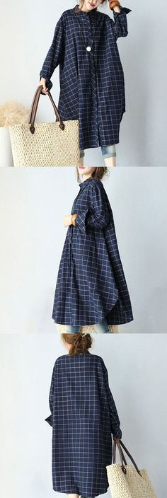 Cotton Casual Plaid Dress
