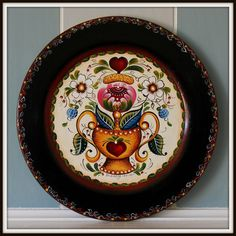 """14"""" Hand painted wooden plate, Os style of Norwegian Rosemaling"""