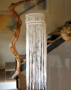Chandelier, made with macramé knot lace of pure cotton string.