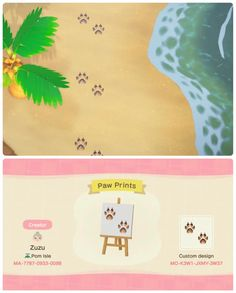 Here's my beach paw prints! Animal Crossing Town Tune, Animal Crossing Guide, Animal Crossing Qr Codes Clothes, Motif Acnl, Motifs Animal, Diy Dog Treats, All About Animals, Mario And Luigi, Dog Park