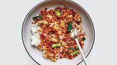 Soy and Scallion Tofu Bowl Recipe | Bon Appétit Dumpling Filling, Meat Seasoning, Taco Fillings, Cooking White Rice, Extra Firm Tofu, Crispy Tofu, Toasted Sesame Seeds, Bon Appetit, Veggies