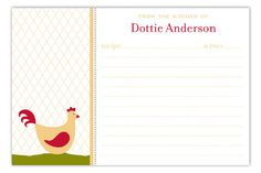 Ordering online at our Polka Dot Stationery Store is a great way to sit on the couch and save money. Custom recipe cards like this Kitchen Chicken Recipe Card are great bridal shower gifts. The new bride will probably have to learn to cook things that aren't microwavable and you can help her get started by throwing her a kitchen shower. What better kitchen shower idea than one based around chickens? My Aunt Mae would love a kitchen shower with chicken out on her 40 acres. Kitchen Shower, Stationery Store, Bridal Shower Gifts, Learn To Cook, Recipe Cards, Cool Kitchens, Aunt, Wedding Cards, Chicken Recipes