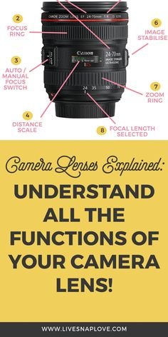Camera Lenses Explained: Understand All The Functions of Your Camera Lens! — LIVE SNAP LOVE - Camera lenses explained – see what all the functions of your DSLR lenses are! Photography Cheat Sheets, Dslr Photography Tips, Photography Lessons, Photography For Beginners, Photography Equipment, Photography Business, Photography Tutorials, Digital Photography, Landscape Photography