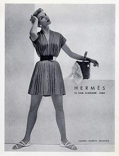 Hermès (Couture) 1928 Cap and Coat, Handbag, Demeyer Vintage Fashion 1950s, Vintage Couture, Vintage Vogue, Retro Fashion, Classic Fashion, French Fashion, Retro Advertising, Vintage Advertisements, Vintage Ads