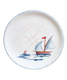 Sailboat Round Serving Platter