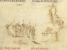 Utrecht Ps63 (cropped)_The Utrecht Psalter, End of  Carolingian manuscript, Rheims style, 820s A.D. Utrecht, Cathedral Library.