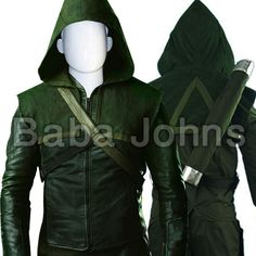 Green Arrow Oliver Queen Leather Costume .All Sizes Avaialble in genuine and faux leather
