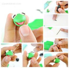 Kermit the Frog Polymer Clay Jewelry. ADORABLE!