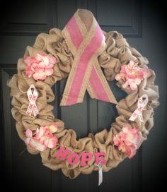 Breast Cancer Awareness Burlap Wreath-WreathsUrWay on Etsy