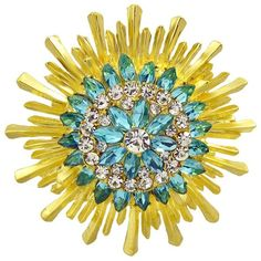 Enamel Faux Crystal Flower Brooch Yellow And Green (6.44 AUD) ❤ liked on Polyvore featuring jewelry, brooches, flower jewellery, yellow crystal jewelry, crystal brooch, imitation jewelry and fake jewelry