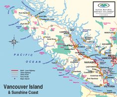 Map Vancouver Island - Driving and Ferries Victoria (Ferries) - Tofino 4.5h Tofino - Nanaimo (BC Ferries) 2.5h