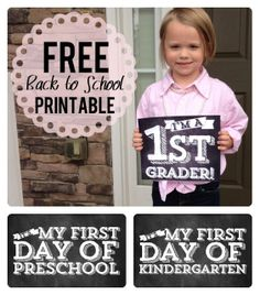 First Day of School - Free Printables for Your Minis!