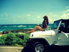 A checkered blouse is always perfect. want to do a picture like this with my jeep