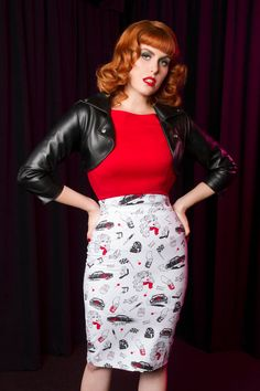 High Waisted Pencil Skirt In Juvenile Delinquent Print By Traci Lords