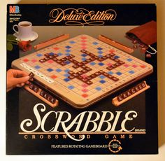 scrabble game | Scrabble Deluxe Edition with Storage Turntable style Board, Vintage ...