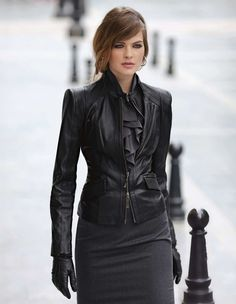 Winter Dress : ruffle dress with black leather jacket and gloves