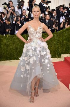 Karolina Kurkova in Marchesa at the 2016 Met Gala. The dress contains LED technology by IBM/ Watson and blinks. See my other photos of this gown on this board for the full effect.
