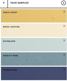 Backdrop color palette Weekend palette with blue and yellow paint colors. Exterior Color Palette, House Exterior Color Schemes, Bedroom Colour Palette, Blue Colour Palette, Bedroom Paint Colors, Exterior Paint Colors, Paint Colors For Home, Palette Art, Exterior Design