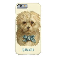 Vintage Dog with Blue Ribbon Phone Case