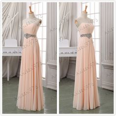 Pale pink pleated prom dressstrapless long chiffon by ahlsen1976, $119.00