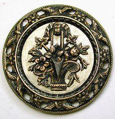 Antique Brass Button w Floral on Shiny Steel Disc Fancy Pierced Border   eBay