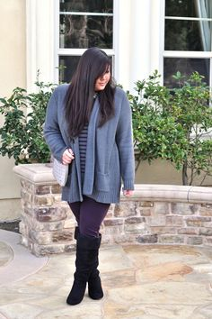 Casual comfy #outfit #ootd with an oversized sweater and skinnies! :)   www.curvygirlchic.com    Curvy Girl Chic - Plus Size Fashion and Style Blog: coziest