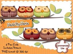 6 Fun Owls  http://www.craftsuprint.com/designer-resources/digital-embelishments/digital-embelishments-accents-ornaments/6-fun-owls.cfm#