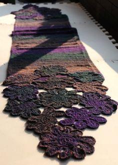 《我的手工编织》山菊花V型领围巾 - 回眸一笑 - 回眸一笑的博客