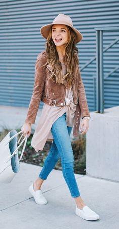 spring fashion  Brown Suede Jacket & Brown Hat & Brown Oversized Knit & Cropped Skinny Jeans & White Sneakers