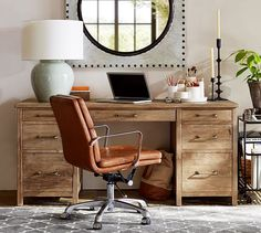 Home Office Wood Desk Pottery Barn 32 Ideas Desk Redo, Diy Desk, Neat Desk, Home Office Desks, Home Office Furniture, Furniture Nyc, Cheap Furniture, Wood Office Desk, Furniture Design