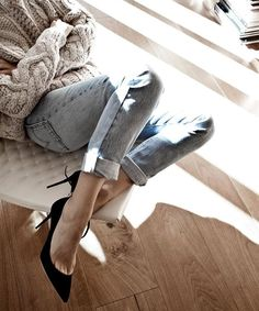 Oversized Knit, Faded Levi's, Heels | A Feminine Tomboy