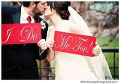 Wedding Signs in Red I DO and ME TOO