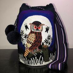 Authentic 100% Wayuu Mochila Colombian Bag Large Size Tapestry Owl Special Pom | eBay
