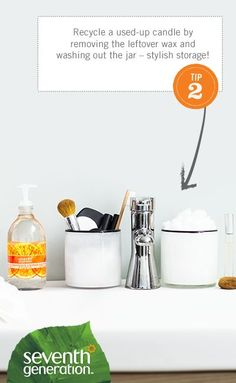 Recycle a used-up candle by removing the leftover wax and washing out the jar – stylish storage! [Promotional Pin]