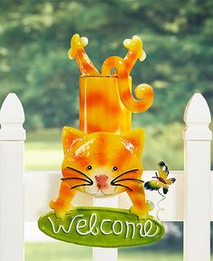 Whimsical Fence Topper - Cat