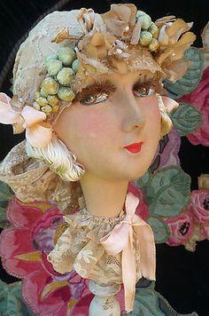RARE Antique French Boudoir Doll Paris Head 1920 Hat Stand | eBay