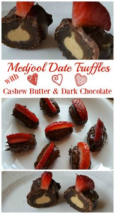 Medjool Date Truffles with Cashew Butter and Dark Chocolate. Vegan, gluten-free,  and no added sugar.