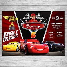Disney Cars 3 Birthday Invitation, Cars 3 Party Invite, Disney Cars 3 Printable Invite, Cars 3 Birthday Party, Lightning McQueen Printable