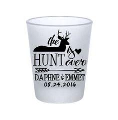 "100x Frosted Wedding Shot Glasses Custom Country Wedding Favors | 1.75 oz | The Hunt Is Over (1A) | Choose Imprint Color | by ""ThatWedShop"" on Etsy 